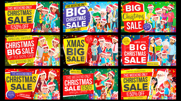 Christmas Sale Banner Set Vector. Discount Up To 50 Off. Big Christmas Banner Vector. Background. Sp Stock photo © pikepicture