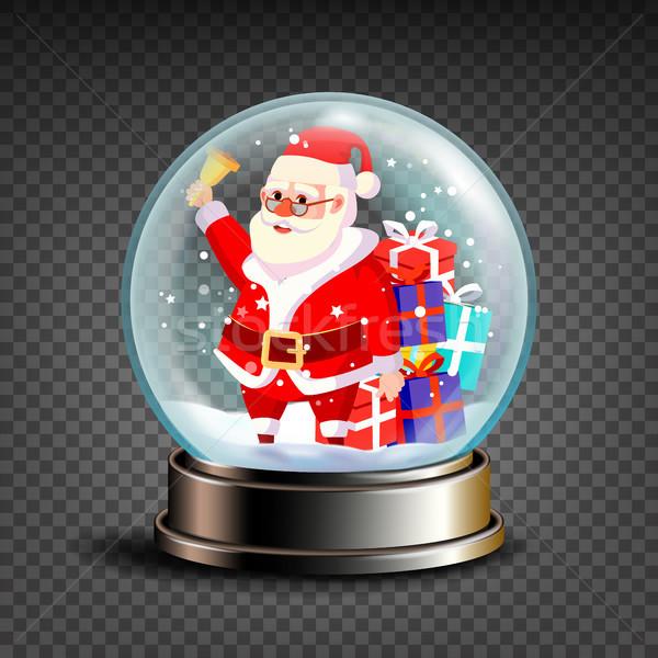 Christmas Snowglobe Vector. Santa Claus Ringing Bell And Smiling. Glossy Dome. Magic Xmas Holiday So Stock photo © pikepicture