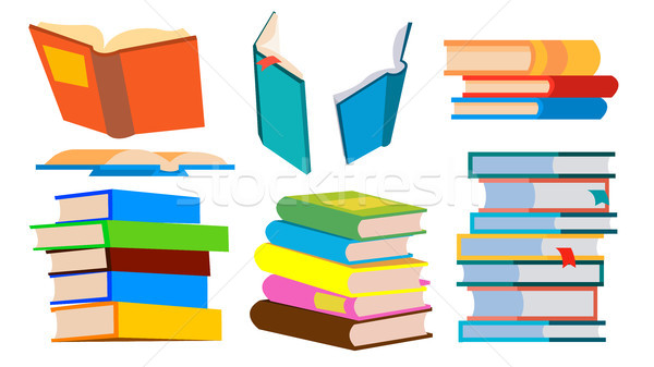Stack Of Books Vector. Pile. Different Angles, Height. Learning, Reading Concept. Isolated Cartoon I Stock photo © pikepicture
