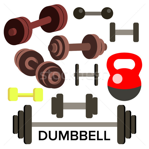 Dumbbell, Barbell Set Vector. Kettlebells. Sport Fitness Icons. Isolated Cartoon Illustration Stock photo © pikepicture