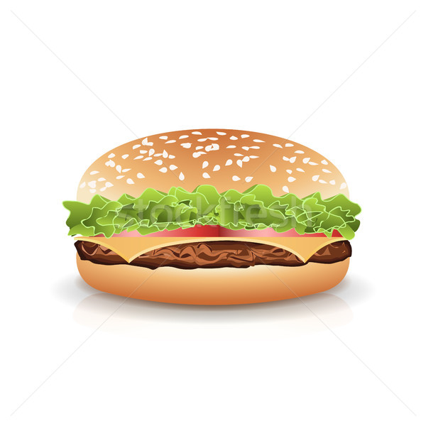 ファストフード 現実的な ハンバーガー ベクトル ハンバーガー サンドイッチ ストックフォト © pikepicture