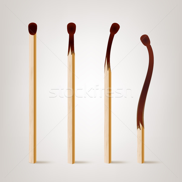 Realistic Burnt Match Vector. Various Stages Of Matches Burning Set Isolated. Realistic Illustration Stock photo © pikepicture