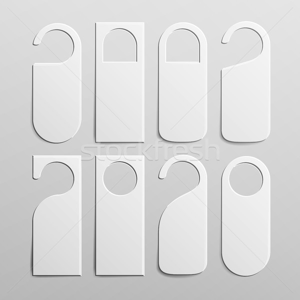 Paper Plastic Door Handle Lock Hangers Set. Realistic White Blank. Empty Mock Up. Do Not Disturb. Ve Stock photo © pikepicture