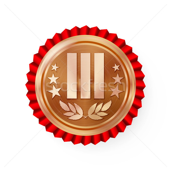 Bronze 3st Place Rosette, Badge, Medal Vector. Realistic Achievement With Third Placement. Round Cha Stock photo © pikepicture