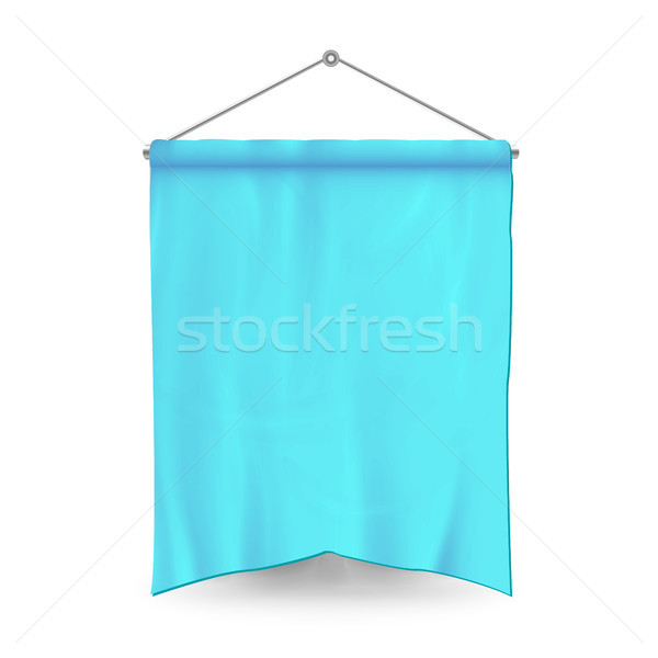 Blue Pennant Template Vector. Empty 3D Pennant Banner Blank. Classic Form. Stock photo © pikepicture