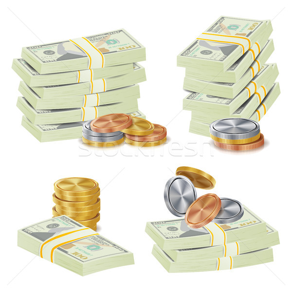 Money Banknotes Stacks Vector. 3D Cash, Gold Coins, Banknotes Piles Illustration Stock photo © pikepicture