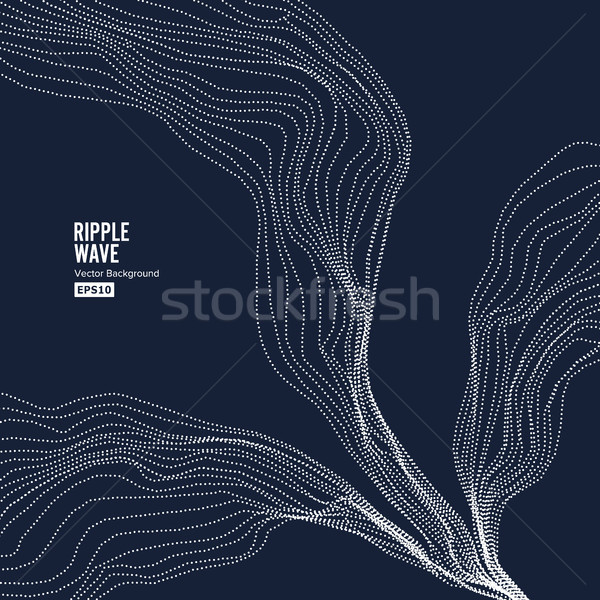 Wave Background. Ripple Grid. Random Rippled Monochrome Curved Vector Shape Stock photo © pikepicture