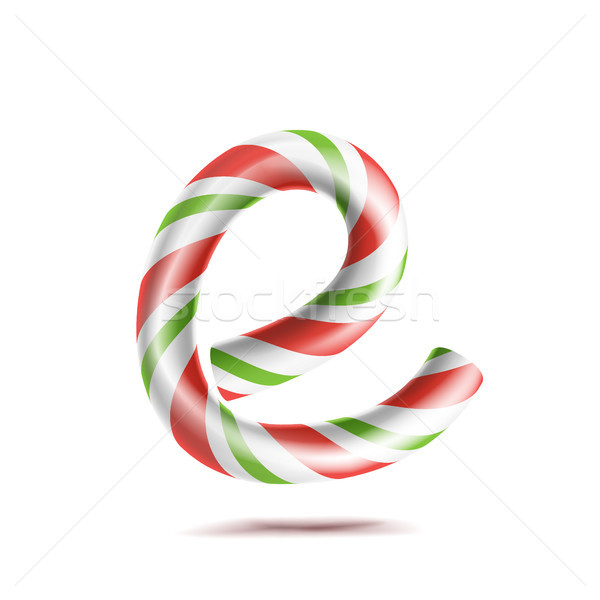 Stock photo: Letter E Vector. 3D Realistic Candy Cane Alphabet Symbol In Christmas Colours. New Year Letter Textu