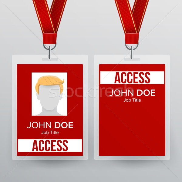 Press Pass Id Card Vector. Plastic Badge Template To Business Conference. Realistic Mock Up Illustra Stock photo © pikepicture