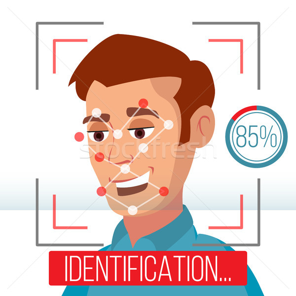Biometric Facial Identification Vector. Mobile App For Face Recognition. High-tech Technology Illust Stock photo © pikepicture