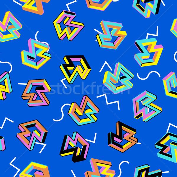 вектора шаблон 80-х годов бесшовный ретро стиль Сток-фото © pikepicture