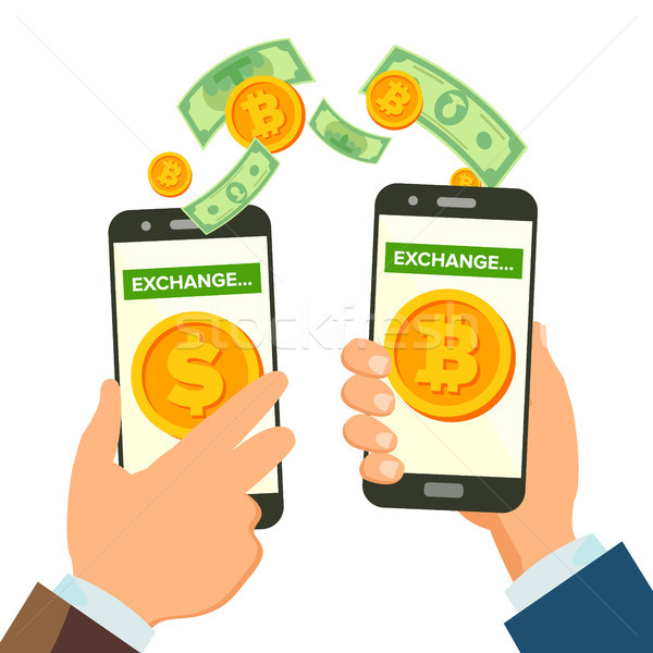 Money Exchange Banking Concept Vector. Human Hand Banner. Hand Holding Smartphone. Mobile Smart Phon Stock photo © pikepicture