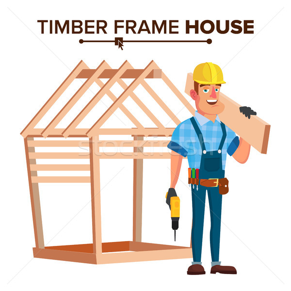 American Builder Vector. Building Timber Frame House. New Home. Roofer On Construction Site. Cartoon Stock photo © pikepicture