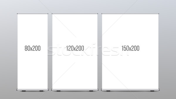Roll Up Banner Stand Vector. Vertical Board Set For Trade Advertising Design. Corporate Business Rol Stock photo © pikepicture