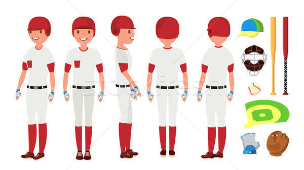 Classic Baseball Player Vector. Classic Uniform. Different Action Poses. Flat Cartoon Illustration Stock photo © pikepicture
