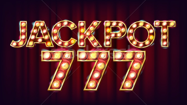 Jackpot 777 Banner Vector. Casino Shining Light Sign. For Slot Machines, Card Games Design. Game Ill Stock photo © pikepicture
