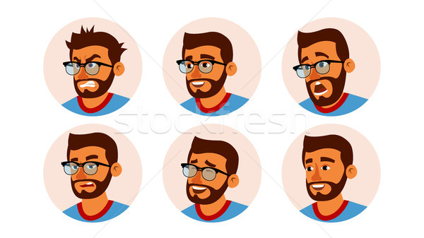 Hindu Character Business People Avatar Vector. Bearded Man Face, Emotions Set. Creative Avatar Place Stock photo © pikepicture