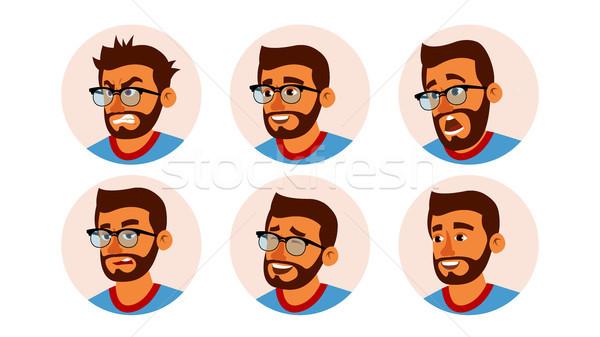 Charakter ludzi biznesu avatar wektora brodaty człowiek Zdjęcia stock © pikepicture