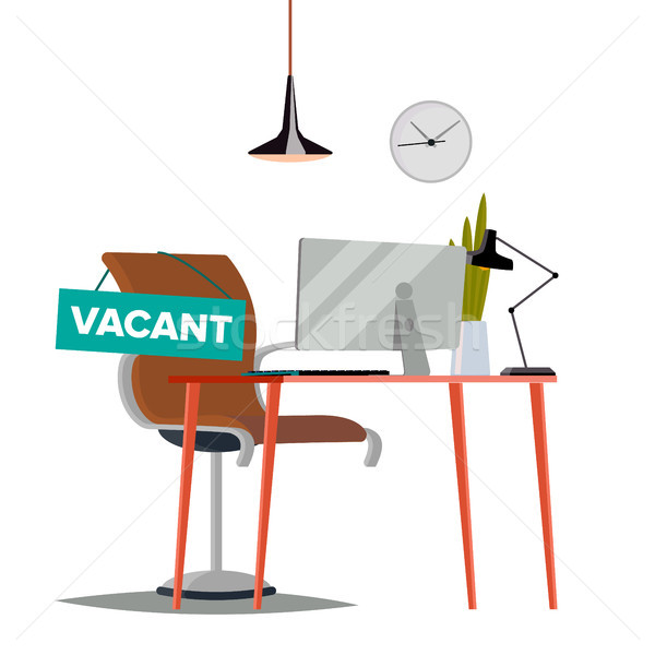 Vacancy Concept Vector. Office Chair. Vacancy Sign. Business HR Hiring. Sign Vacancy. Searching Prof Stock photo © pikepicture