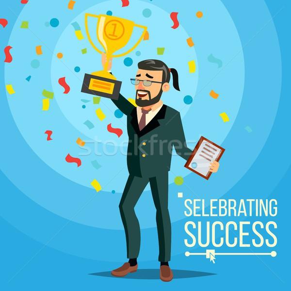 бизнеса победу вектора радостный бородатый бизнесмен Сток-фото © pikepicture