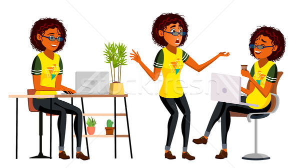 üzlet afrikai afroamerikai nő karakter vektor amerikai Stock fotó © pikepicture