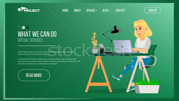 Website Page Vector. Business Agency. Network Connection. Cartoon Person. Digital Developer. Illustr Stock photo © pikepicture