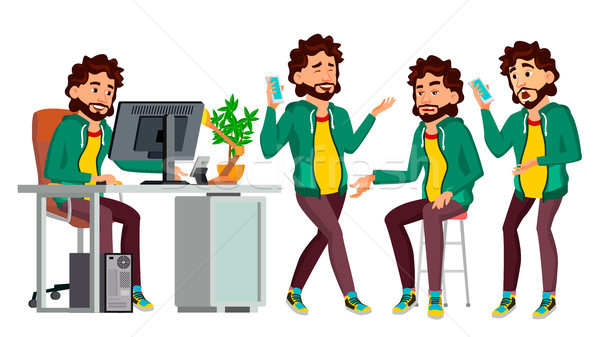 Office Worker Vector. In Action. Face Emotions, Various Gestures. Business Man. Professional Cabinet Stock photo © pikepicture