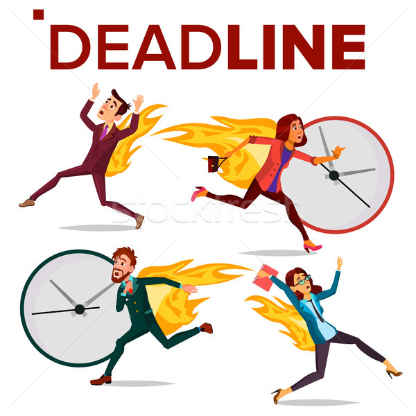 Deadline Concept Set Vector. Office People. Running Business Man, Woman. Workload Deadline Disasters Stock photo © pikepicture