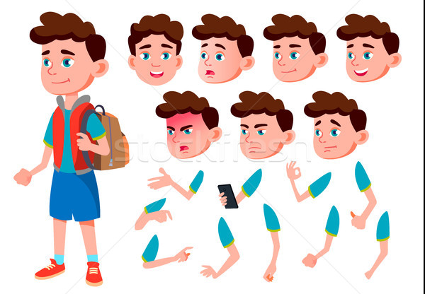 Boy, Child, Kid, Teen Vector. Friend. Clever Positive Person. Face Emotions, Various Gestures. Anima Stock photo © pikepicture
