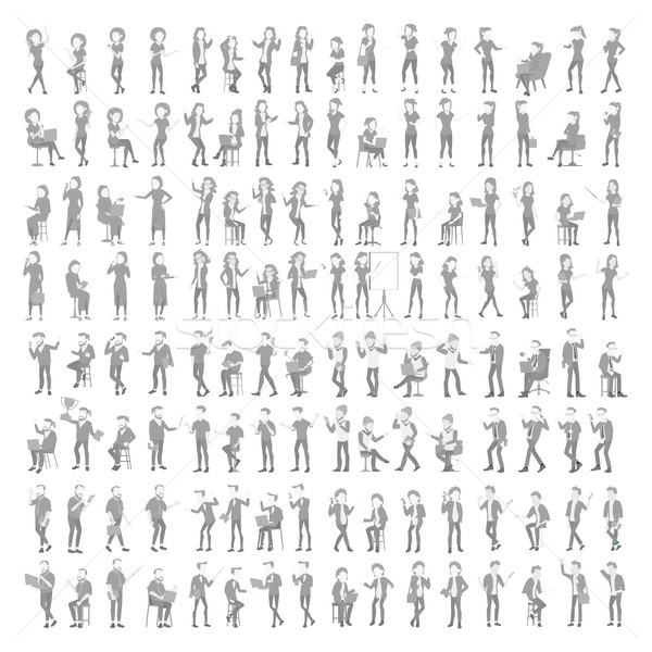 Placeholder Avatar Set Vector. Profile Gray Picture. Full Length Portrait. Male, Female Default Phot Stock photo © pikepicture