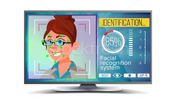 Face Recognition, Identification System Vector. Face Recognition Technology. Woman Face On Screen. H Stock photo © pikepicture