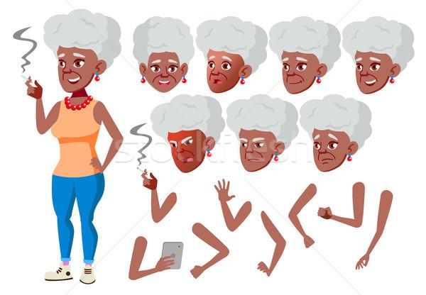 Yaşlı kadın vektör siyah afro kişi Stok fotoğraf © pikepicture