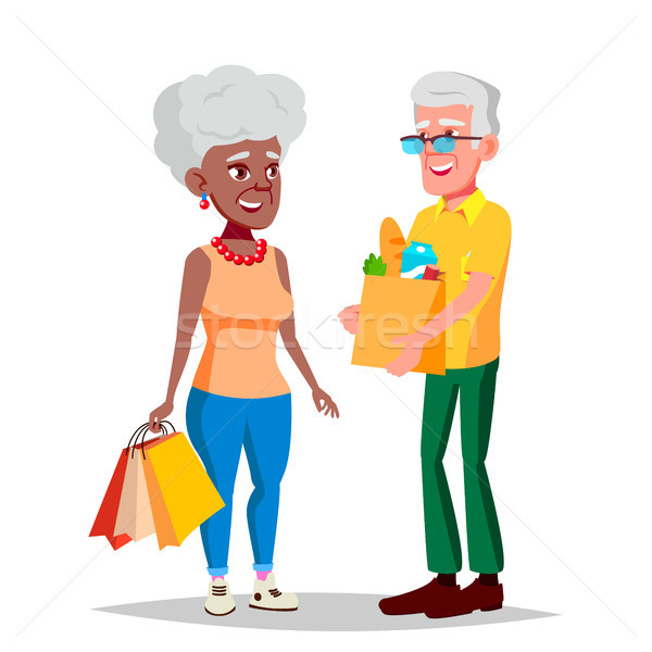 Elderly Couple Vector. Grandpa With Grandmother. Social Concept. Senior Couple. Afro American, Europ Stock photo © pikepicture