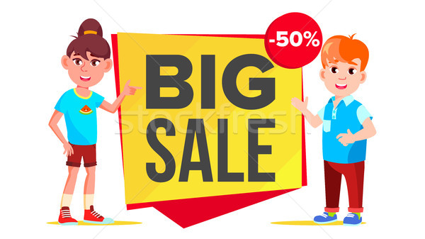 Big Sale Banner Vector. School Children, Pupil. Funny Character. Up To 50 Percent Off Badges. Isolat Stock photo © pikepicture