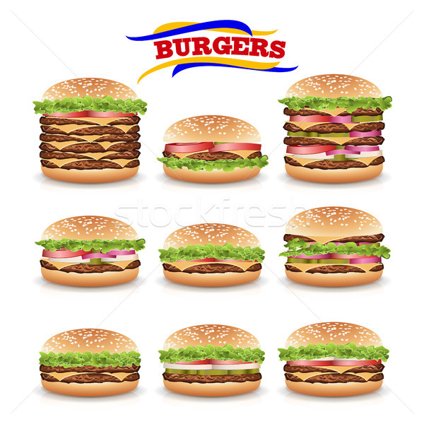 Fast Food Realistic Burger Vector. Set Stock photo © pikepicture