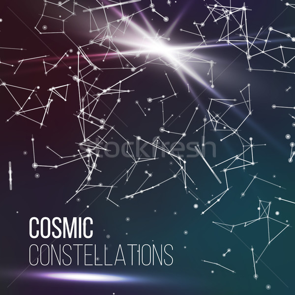 Cosmic Constellations Modern Background Vector. Sparkling Nights Abstract Sky With Stars Stock photo © pikepicture