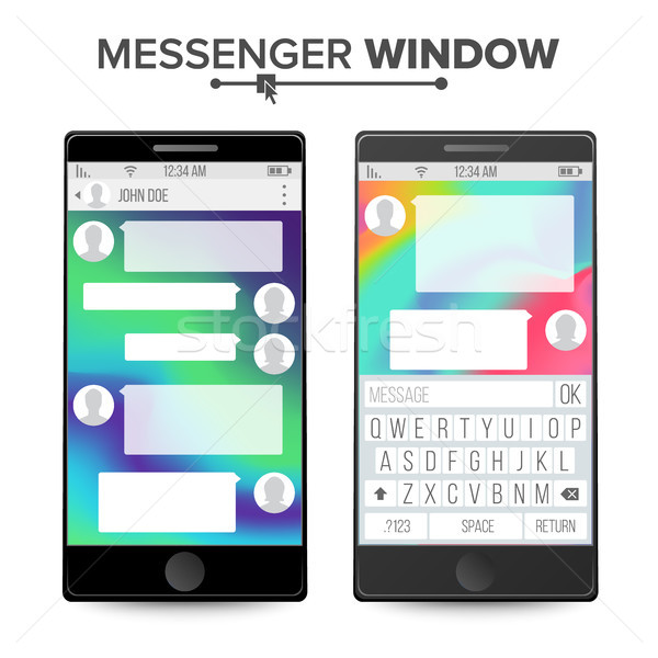 Smartphone Isolated On White Background. Messenger Window. Mobile App For Talking. Speech Bubbles. V Stock photo © pikepicture