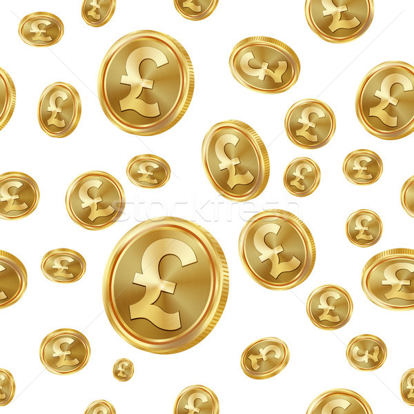 GBP Seamless Pattern Vector. Gold Coins. Isolated Background. Golden Finance Banking Texture. Stock photo © pikepicture