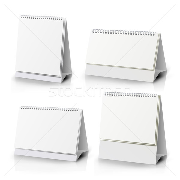 Paper Calendar Blank Set. Vertical Realistic Standing Blank Spiral Table Calendar Of Different Size  Stock photo © pikepicture