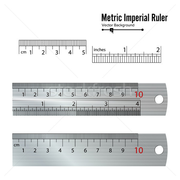 Metric Imperial Rulers Vector. Centimeter And Inch. Measure Tools Equipment Illustration Isolated On Stock photo © pikepicture