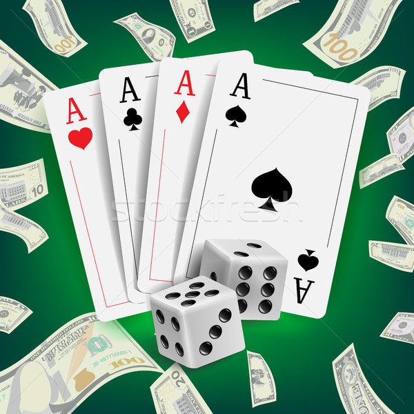 Casino Poker Design Vector. Poker Cards, Playing Gambling Cards. Lucky Night VIP Winner Concept. Rea Stock photo © pikepicture