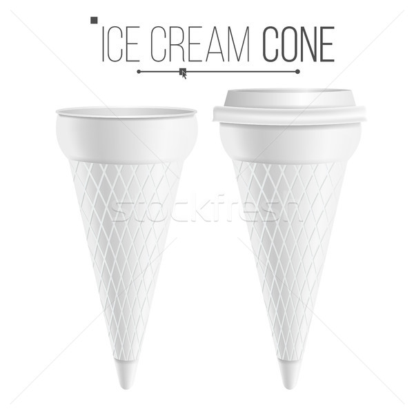 Ice Cream Cone Template Vector. For Dessert, Yogurt. Plastic Or Carton Tub. Isolated On White Backgr Stock photo © pikepicture