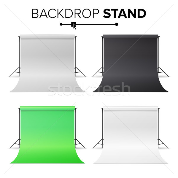 Photo Studio Hromakey Set Vector. Modern Photo Studio. Black, White, Green Backdrop Stand Tripods. R Stock photo © pikepicture