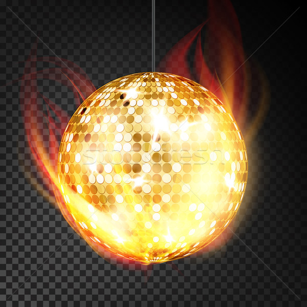 Gold Disco Ball Vector Realistic. Yellow Dance Night Club Ball In Burning Style Isolated On Transpar Stock photo © pikepicture