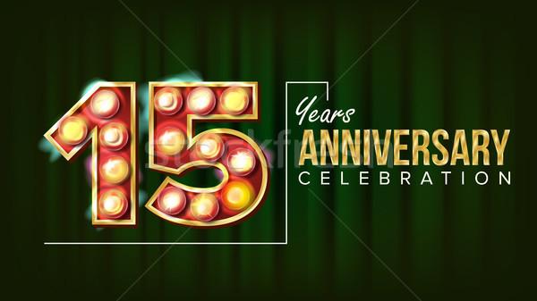 15 jaren verjaardag banner vector vijftien Stockfoto © pikepicture