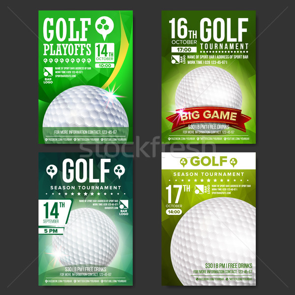 Golf Poster Set Vector. Design For Sport Bar Promotion. Golf Ball. Modern Tournament. Sport Event An Stock photo © pikepicture