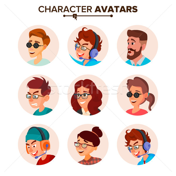 Personnage personnes avatar vecteur visage Photo stock © pikepicture