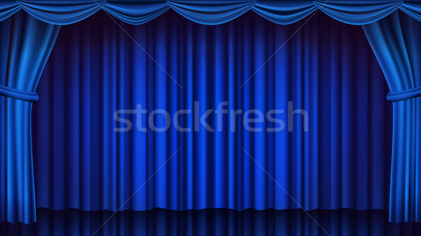 Blue Theater Curtain Vector. Theater, Opera Or Cinema Closed Scene. Realistic Blue Drapes Illustrati Stock photo © pikepicture