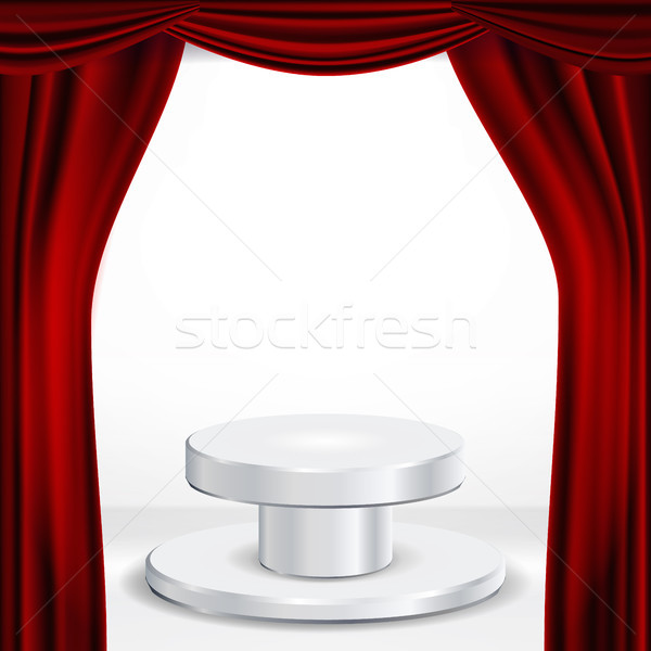 Podium Under Red Theater Curtain Vector. Ceremony Award. Presentation. Pedestal For Winners. Isolate Stock photo © pikepicture