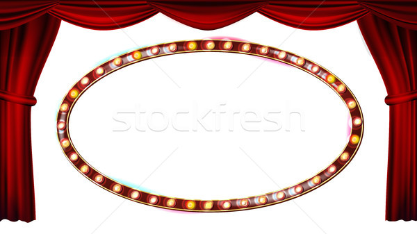 Gold Frame Light Bulbs Vector. Isolated On White Background. Red Theater Curtain. Silk Textile. Shin Stock photo © pikepicture